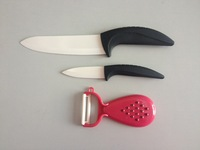 "Wholesale 3 Pc  Ceramic Knife 3""+5""+Multifunctional Ceramic  peeler kitchen knives"