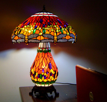 Tiffany table lamp quality table lamp RED DRAGONFLY , picture lights remote control