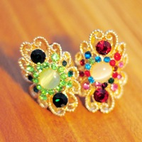Antique distressed classic ring red ruby green emerald cat eye Party Wedding Anniversary 2013 trend fashion new