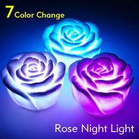 Wholesale 20pcs/lot Colorful LED Rose Flower Flashing Small Night Light 7 Color Changable Christmas Holiday Decoration Lighting
