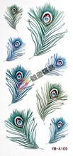 Tattoo stickers waterproof Women blackish green peacock feather tattoo stickers a109(China (Mainland))