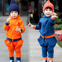 2013 autumn and winter boys clothing baby child fleece sweatshirt harem pants set tz-0931