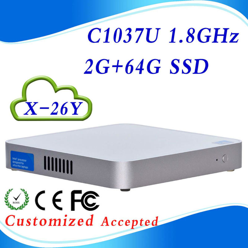 Support Touch Screen X-26Y C1037U 2G RAM 64G SSD fanless server linux mini pc mini computer Low price and best quality(China (Mainland))