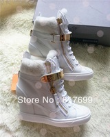 2013 Fashion new arrive white color winter brand wedge increased internal high top woman high top sneakers with Fur Size 4.5~10