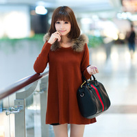 Sweet fashion medium-long fur collar long-sleeve sweater aa7421