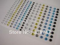 Free shipping Wholesale Self Adhesive Mix color 3/4mm DIAMANTE Rhinestone Sticker GEMS Crystals Craft(10pcs/Lot) 0220012558