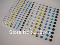 Free shipping Wholesale Self Adhesive Mix color 3/4mm DIAMANTE Rhinestone Sticker GEMS Crystals Craft(10pcs/Lot) 0220012558
