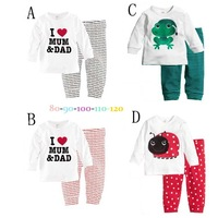 2014 new fashion baby girls boys cotton long sleeve t shirt +pants 2pcs set new child cartoon ploughboys lounge home wear set