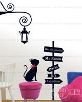 Cheap Cartoon Cross Road cat PVC Wall Sticker ,Wall Decal ,Wallpaper, Room Sticker, House Sticker Free Shipping LD1129