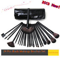 2013 New Professional 24 Pcs  Makeup Brushes Set  Crocodile Bag Cosmetics foundation brush Brushes Kit Tool For Women Gift