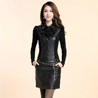 3xl xxl plus size 2014 spring women slim PU leather patchwork slim hip long-sleeve one-piece dress belt PH0489