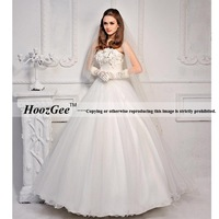 Free Shipping High-end Custom Princss Floor-Length Flowers Strapless Bride Gowns Wedding Dress HoozGee-7951