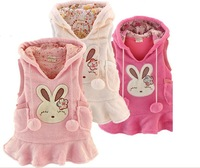 Best Quality Fall Winter Girls Vest Hoodies Dress Coat Coral Fleece Rabbit Pure Cotton Baby Kids Waistcoat Coat Retail QS225