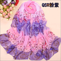 (Min order is $10,Free Shipping)2013 New Arrival Fashion Spring and Autumn Scarf Elegant Rose Pattern Chiffon Scarf  Shawl