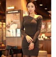 2013 Autumn And winter Women's Long Sleeve Slim Hip Sexy Tight Dress Ladies Elegant Basic Dresses