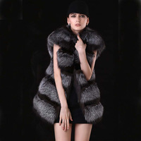 Luxury Brand Autumn and Winter New 100% Genuine The Whole Silver Fox Fur Vest Women Fox Vests Gilet Waistcoat Free Shipping
