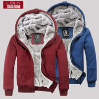 Winter male sweatshirt outerwear plus velvet thickening fleece cardigan with a hood men's clothing autumn and winter