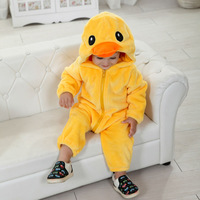 Free Shipping New Animal Style Duck Yellow Warm 100% Cotton Baby Romper, Spring New Born Romper, Autumn Children Romper