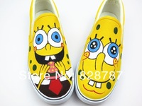 Free shipping 2014 SpongeBob hand painted slip-on canvas shoes for man woman sneakers