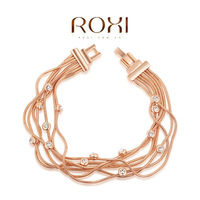 ROXI Exquisite Multi-wire women bracelet with Rose gold plated  filled with AAA zircon fashion bracelets bangles women jewelry