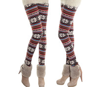 2013  60001 Hot Korean Add Wool Thicken Snow Flower Warm Winter Leggings Womens Ninth Pants