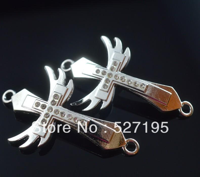 Fashion DIY Crystal Rhinestone Cross Beads Silver Plated Sideways Bracelets Connectors(China (Mainland))