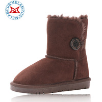 Child snow boots child boots single-button cowhide winter boots baby cotton-padded shoes boys shoes female child boots
