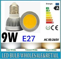 10X Free shipping 85-265V dimmable E27 COB 9W LED lamp light led Spotlight White/Warm white led lighting