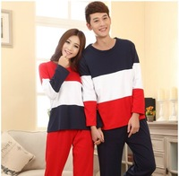 100%cotton, sweet love warm  long sleeve  nightclothes pajamas suit,sleep clothes at home,Mens womens lovers