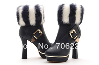 Hot !Free shipping women's top quality  leather  ankle boots high heel fluffy ankle boots for lady fashion boots