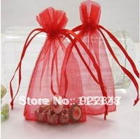 Free Shipping Wholesale 100pcs/lot 9x12cm Red Drawable Organza Packaging Wedding Gift Bags&Pouches  10121300