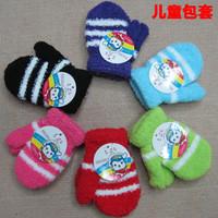 Fashion infant child winter mitten baby plush soft yarn bag gloves