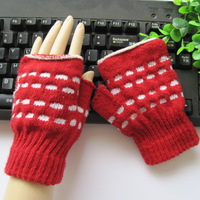 Winter fashion women's semi-finger gloves dot gulps half writing gloves
