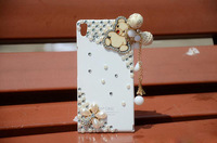 5pcs 3D Cell Phone Diamond Bling Pendant Case Rhinestone Bear Wood Tassel Protective Cover For Huawei P6