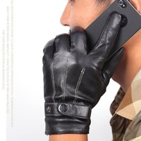 Quality winter thermal male fashion leather gloves line black gloves