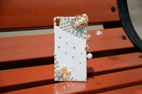 5pcs Luxury 3D Bling Hand-made Diamond Cute Horse Wood Pendant Hard Case Cover for Huawei P6