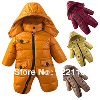 Infant Down coat One pieces Rompers 0-24M Baby wear Brand Down jacket Retail Drop shipping Thickening Fur Duck's down