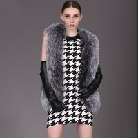 New Europe Designer Genuine Silver Fox Fur Vest Gilet For Women Fashion Fox Vests Waistcoat Free Shipping Plus Size
