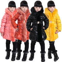 Girls child 2013 winter wadded jacket outerwear child long design thickening PU Waterproof Warm Outdoor jackets parka ski coat