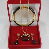Free Shipping  Charming 18k GP black jade necklace bracelet earring ring set  014