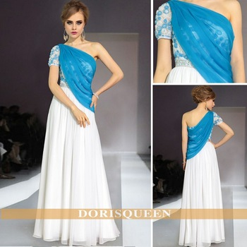 Free shipping DORISQUEEN  2013 tencel blue and white one shoulder prom dress 2014 #30912