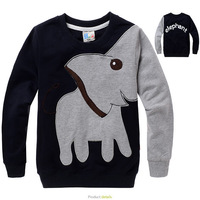 Retail 1pc 2013 New arrival Children cotton Tshirt baby girl boy cute top longsleeve elephant cartoon top kid clothing wear