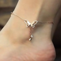 18k Gold titanium steel rose gold plated Chain tassel Anklet Bracelet Foot Bangle butterfly crystal pendant free shipping