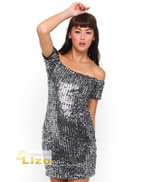 Lena Sequin Off Shoulder Dress  Sequin Dress in Silver and Black