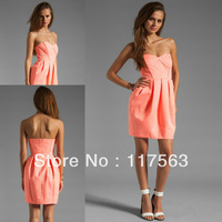 2013 new arrival country mini short coral colored bridesmaid dress brides maid dress cheap BD068