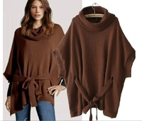2013 Winter Style Europe Style Batwing Sleeve Knitted Sweater Women Loose Turtle Neck Half Sleeve Pullover With waistband