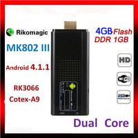 Free shipping Rikomagic MK802 III Dual Core Mini Android 4.1 PC RK3066 1.6Ghz Cortex A9 1GB RAM 4G ROM HDMI