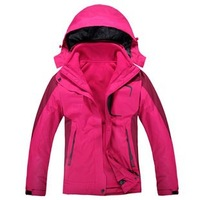 IN Stock!NEW 2014 women's Outdoor sport jackets Waterproof breathable windproof 3 layer 2in1 Outdoor coat Jackets