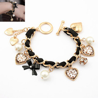 ( Min order is 10usd !) Gril's Love Leopard Pearls heart Bracelet Jewelry wholesale! A2041