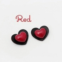 Red double love peach heart shape connected fashion earrings